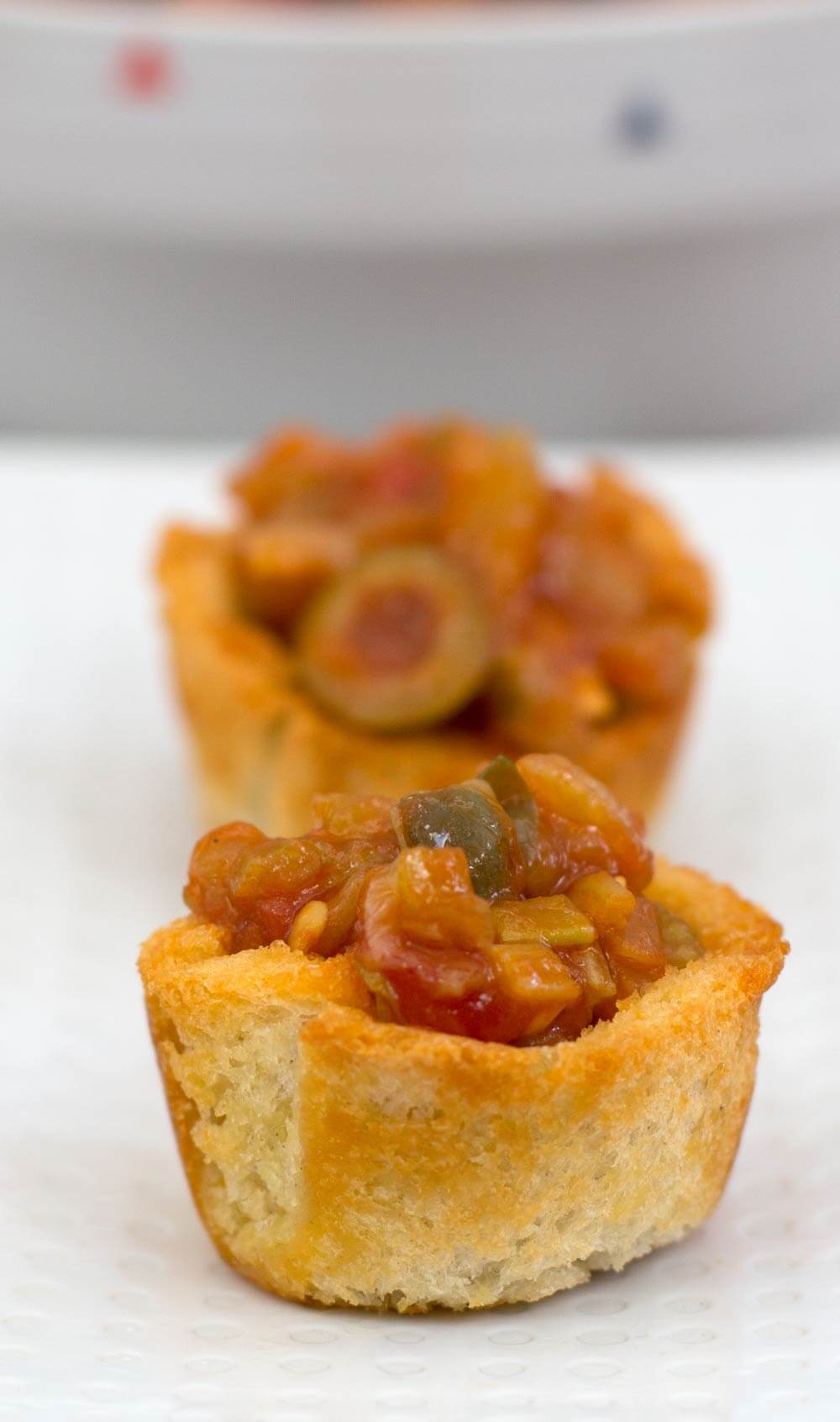 Mini Muffin Cup Appetizers with caponata filling