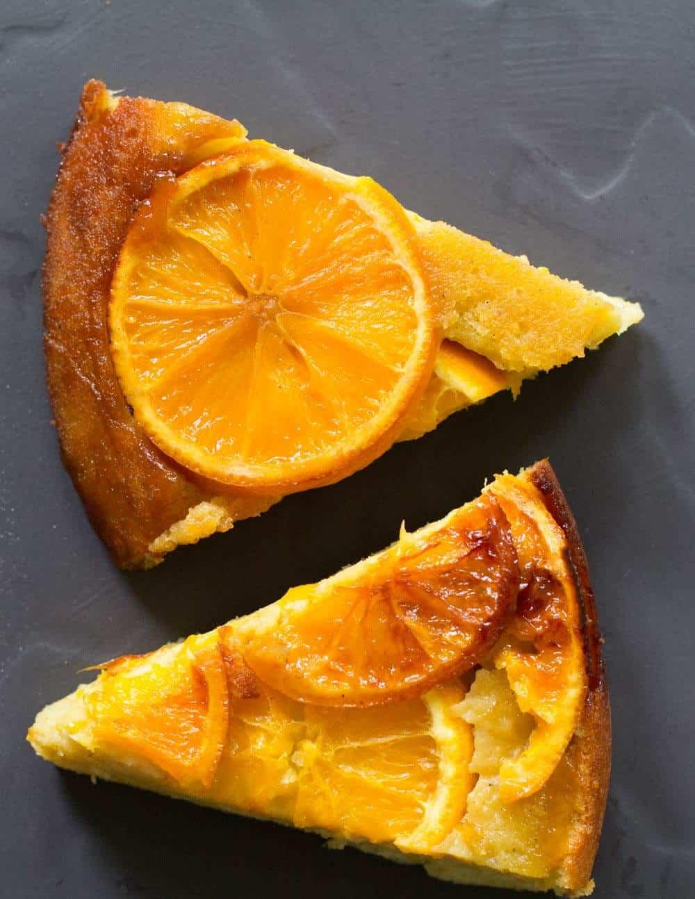 Slices of Cast Iron Orange Olive Oil Upside Down Cake