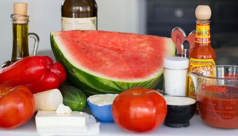 Ingredients for watermelon gazpacho with feta crema