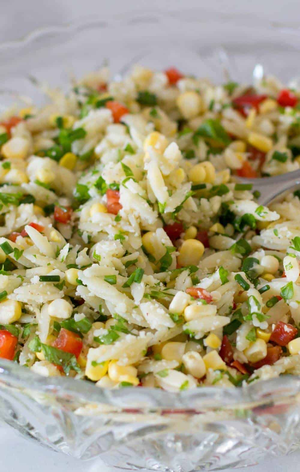 A bowlful of crunchy colorful orzo vegetable salad | Mother Would Know