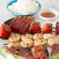 Grilled Watermelon Scallop Shish Kabobs