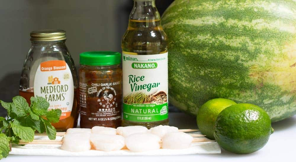 Ingredients for Grilled Watermelon Scallop Shish Kebobs