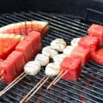 Watermelon and scallop shish kebobs on the grill