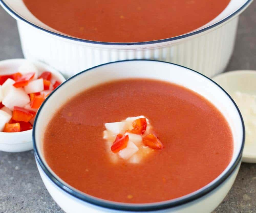 a cup of watermelon gazpacho