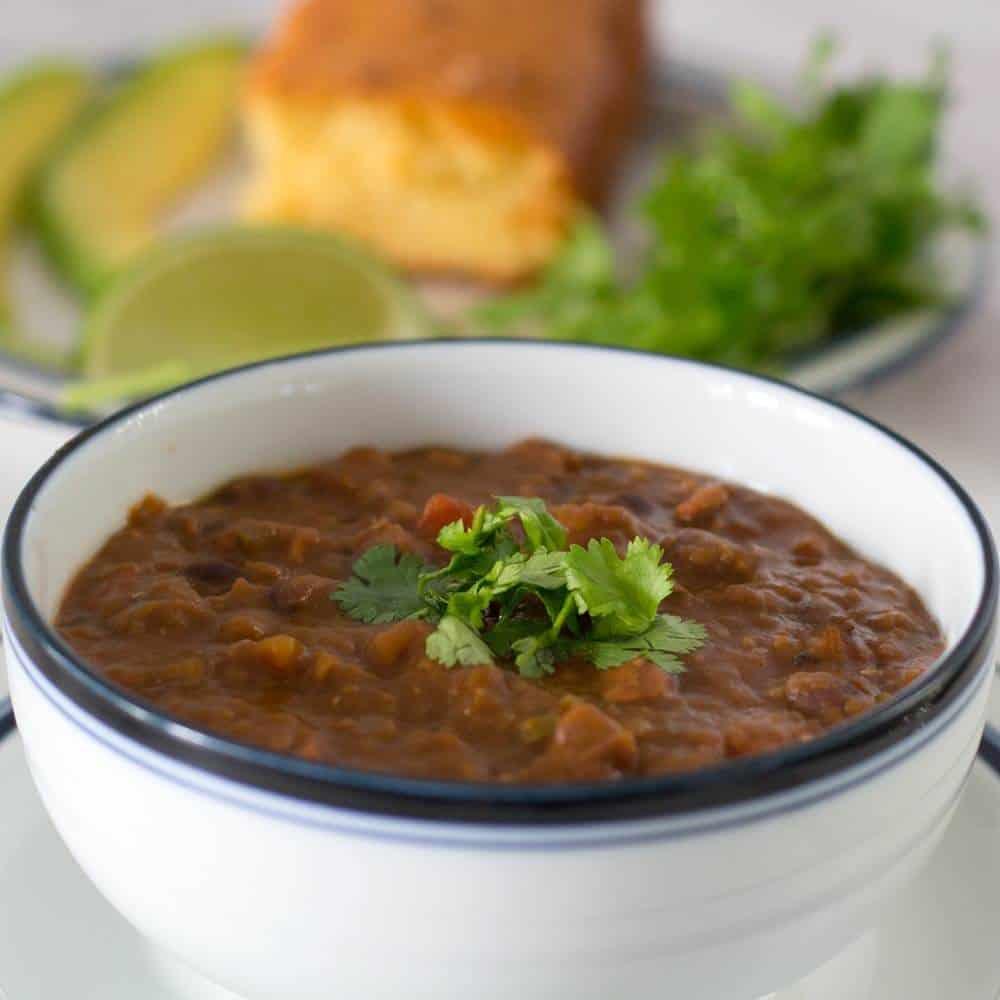 closeup of Instant Pot Chipotle Pumpkin Vegan Chili