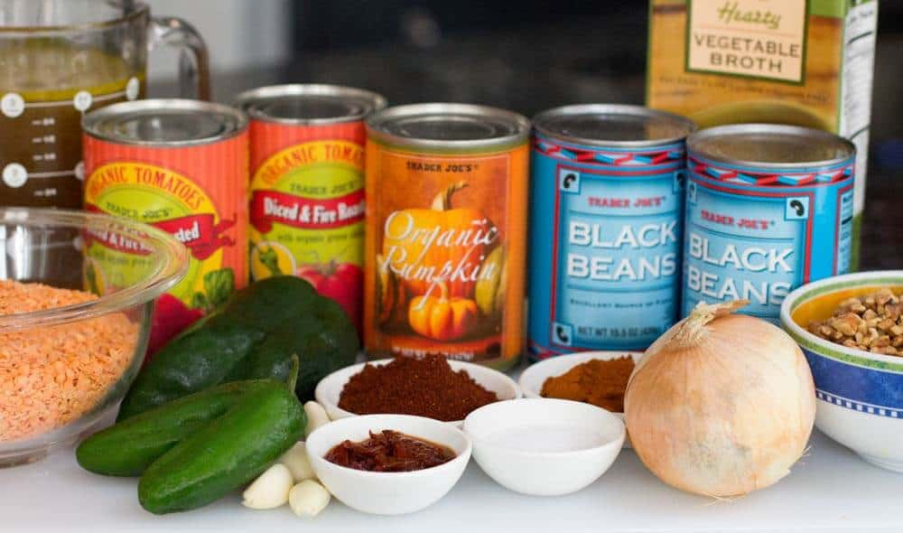 ingredients for instant pot chipotle pumpkin vegan chili