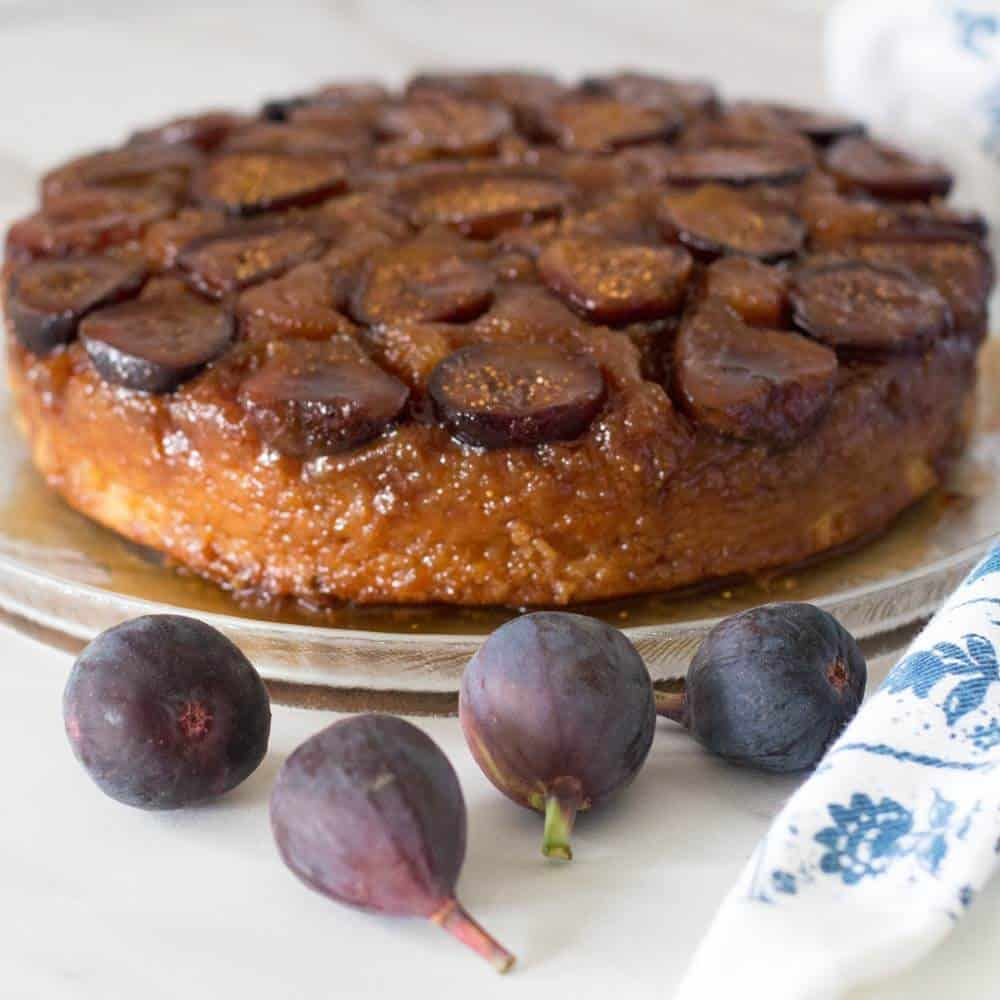 Fig and Ginger Upsdie Down Cake with fresh figs