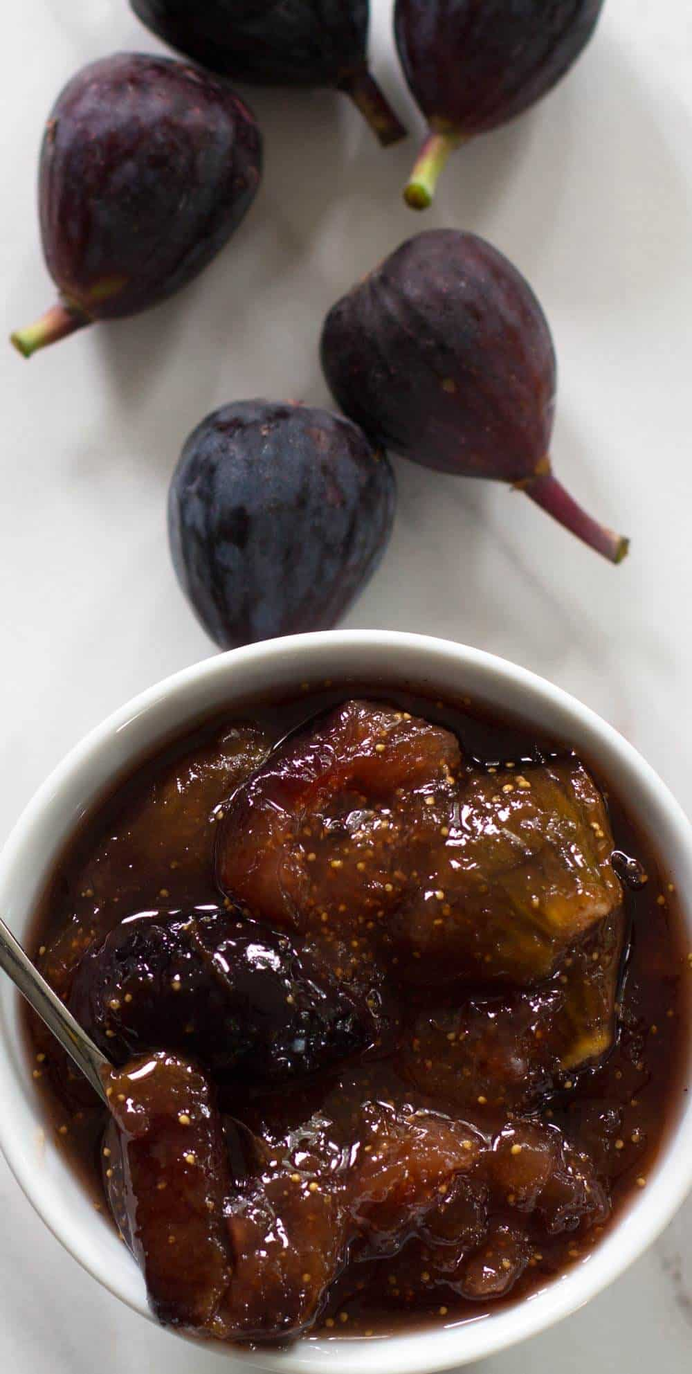 Fresh figs and fresh fig compote