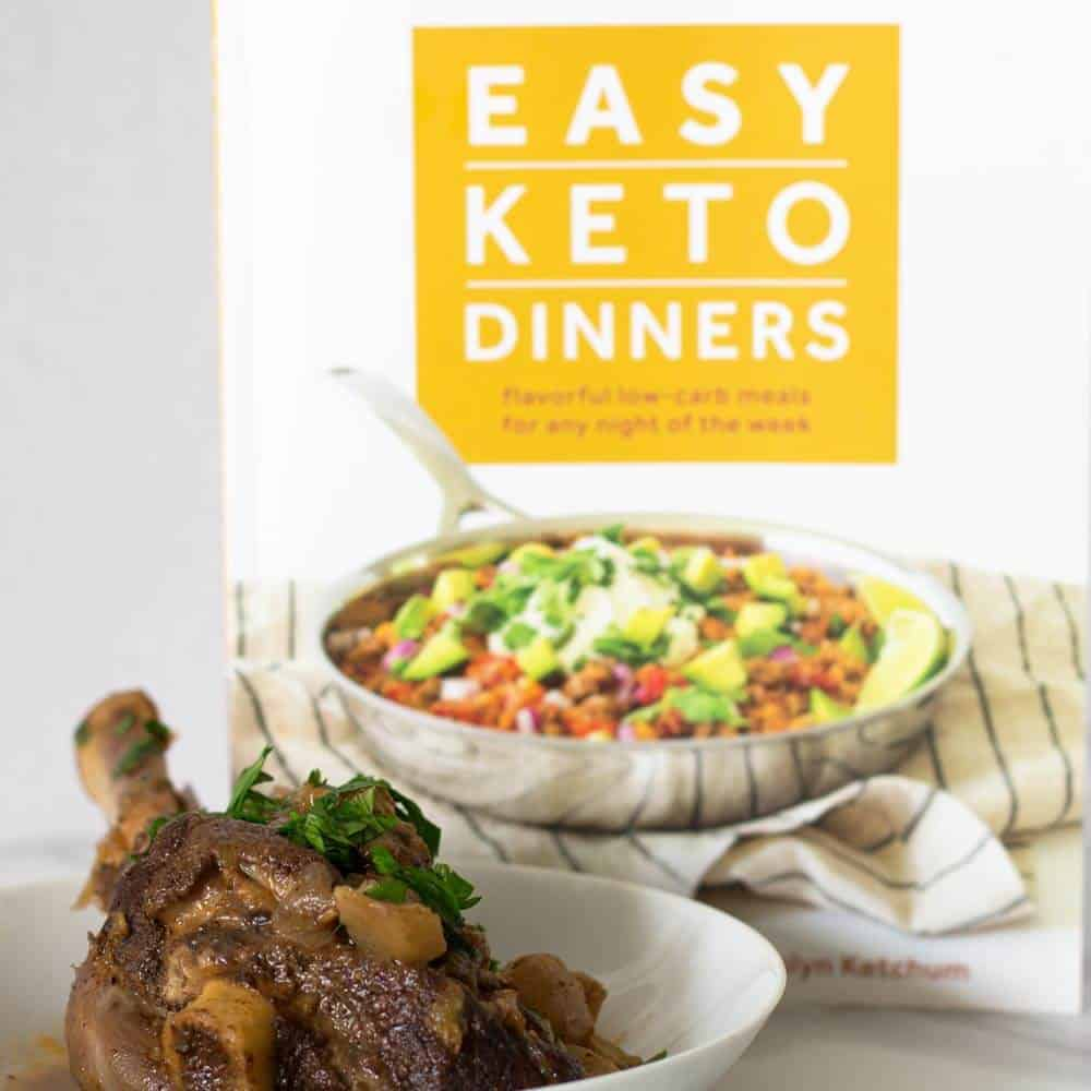 Indian-style keto lamb shanks with Easy Keto Dinners book