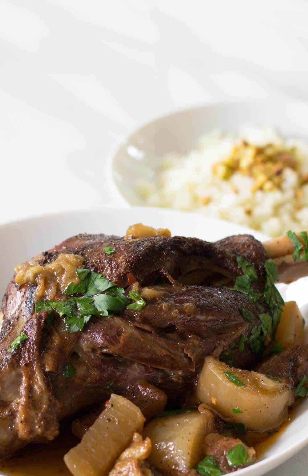 Indian-Style Keto Lamb Shanks with cauliflower rice