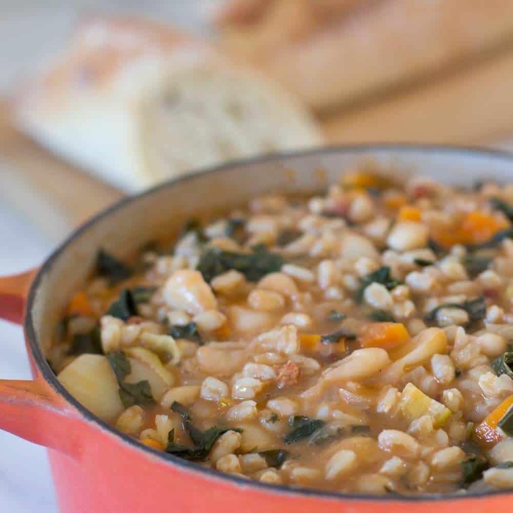 closup of a pot of Tuscan Farro Bean Soup