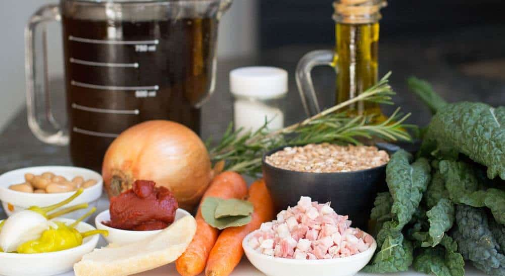 ingredients for Tuscan Farro Bean Soup