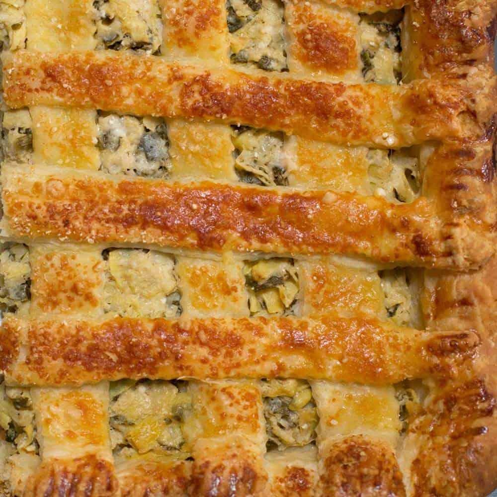 """lazy lattice"" covering an artichoke dip pie"