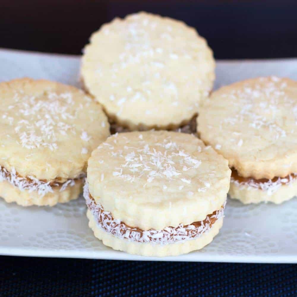 a plate of alfajores or dulce de leche cookies