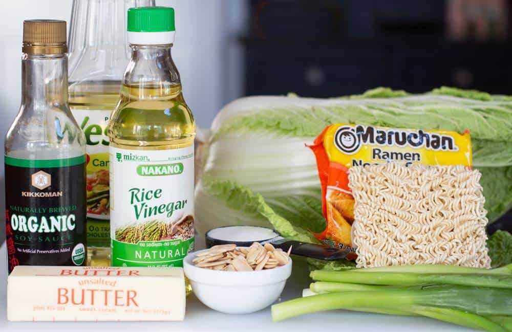 ingredients for the crunchy Napa cabbage salad