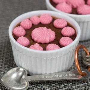 Single serving chocolate raspberry pots de creme with a decorative spoon
