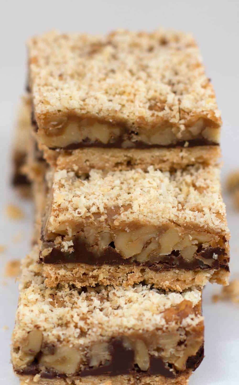 pile of three Derby pie shortbread bars stacked in a tower