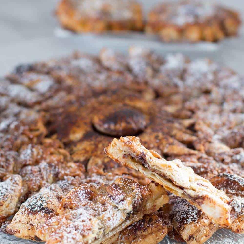A piece of chocolate marzipan tarte soleil