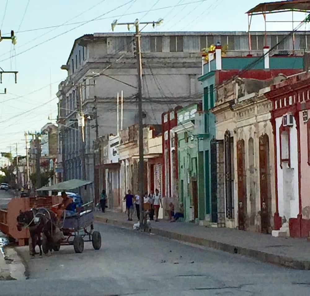 Cuban street scene with horse and buggy