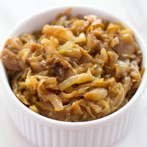 caramelized onions in a ramekin