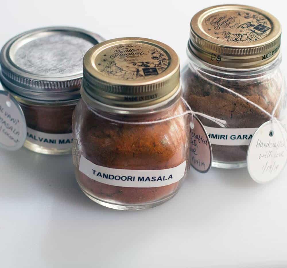 3 jars of Indian garam masala spice blends