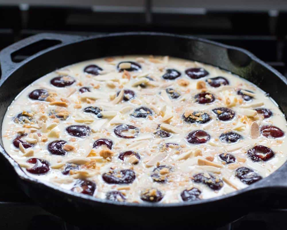 cherry clafoutis ready for oven