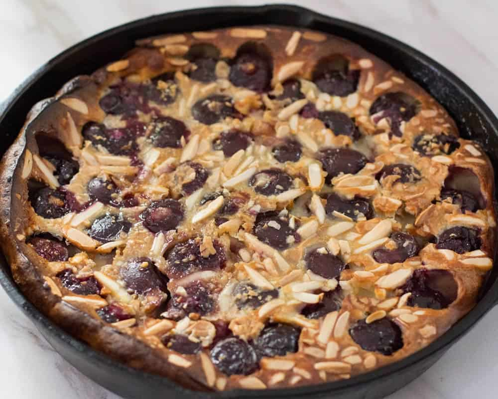 cherry clafoutis done in pan