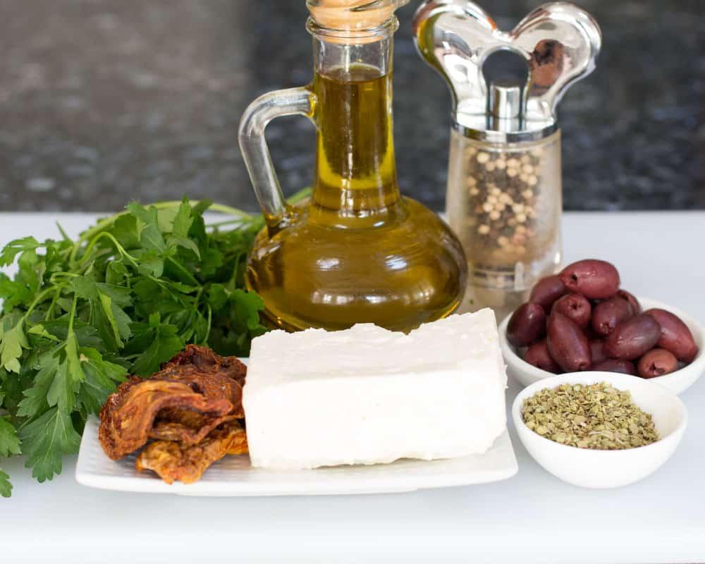 ingredients for Easy Mediterranean Bruschetta Appetizer