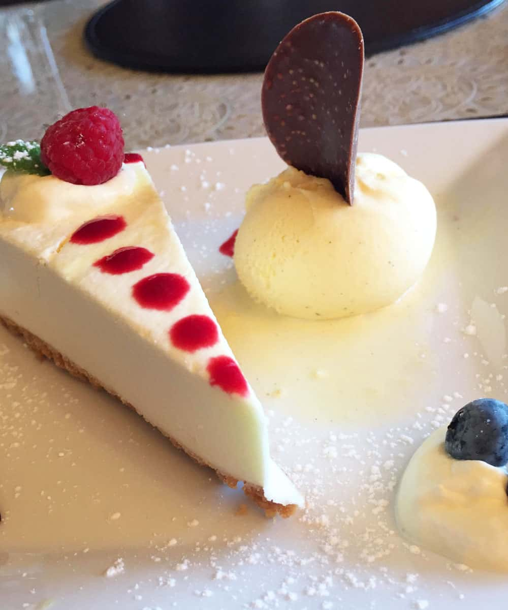 Dessert plate with no-bake lemon mascarpone cheesecake and two other bite-sized desserts served at Creevagh Heights B&B
