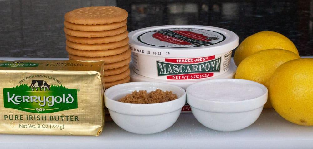 ingredients for no-bake lemon mascarpone cheesecake