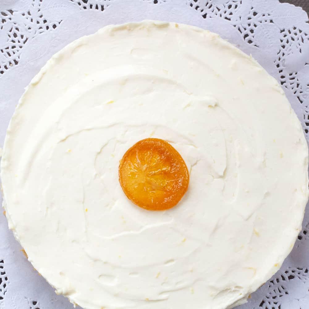 overhead shot of no-bake lemon mascarpone cheesecake