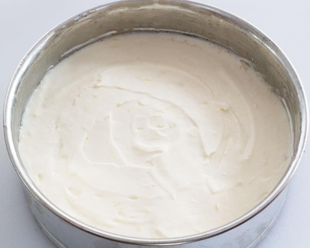 no-bake lemon mascarpone cheesecake ready to chill