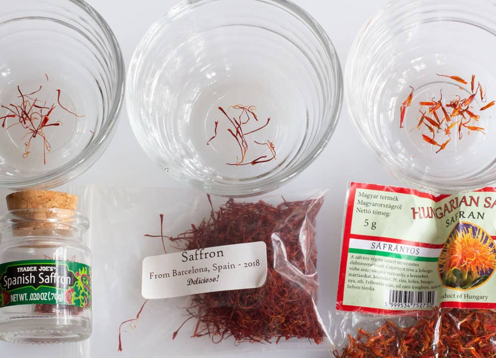 identify real saffron from among three sources labelled and put in glass bowls