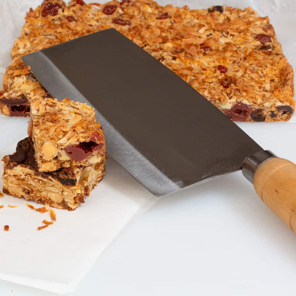 Cutting dried fruit & nut bars with a cleaver