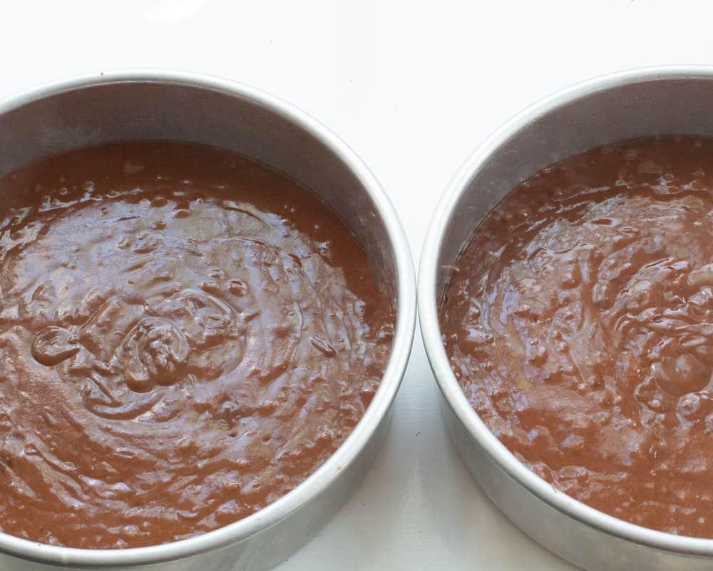 Dividing batter for chocolate yogurt cake