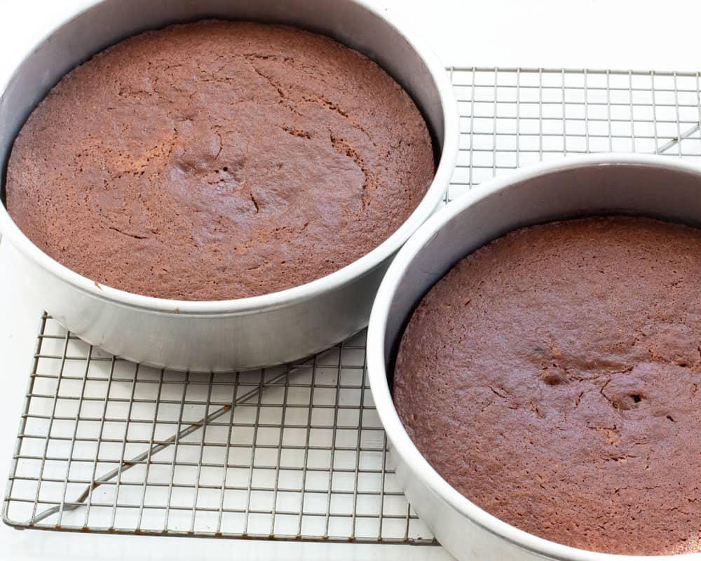 Layers of chocolate yogurt cake baked and cooling