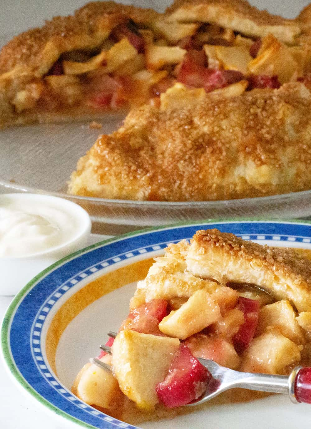 cream with apple rhubarb galette