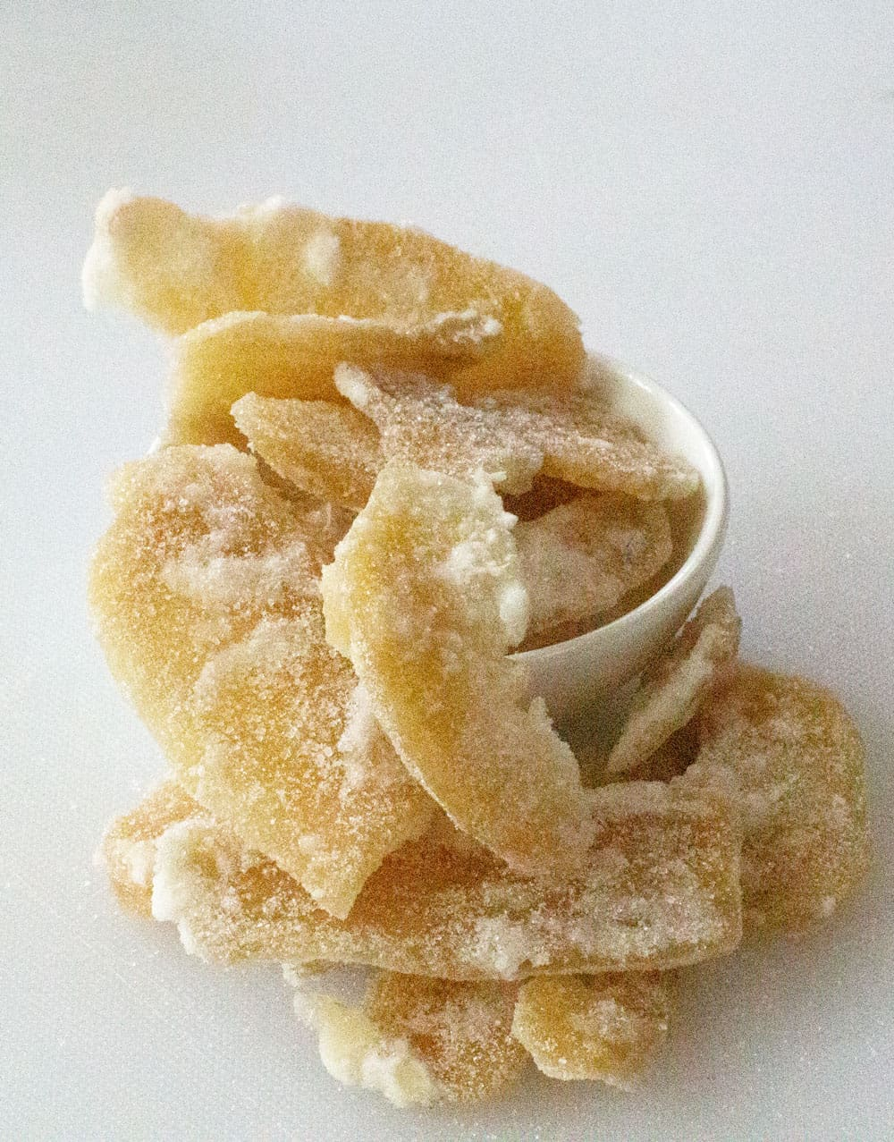 a pile of homemade crystallized ginger