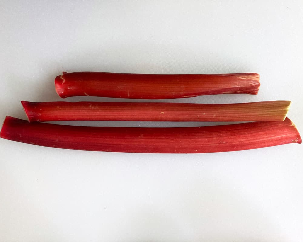 three stalks of rhubarb