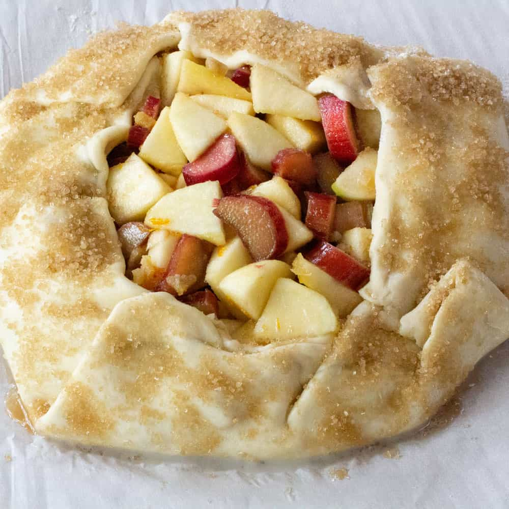 apple rhubarb galette ready for oven