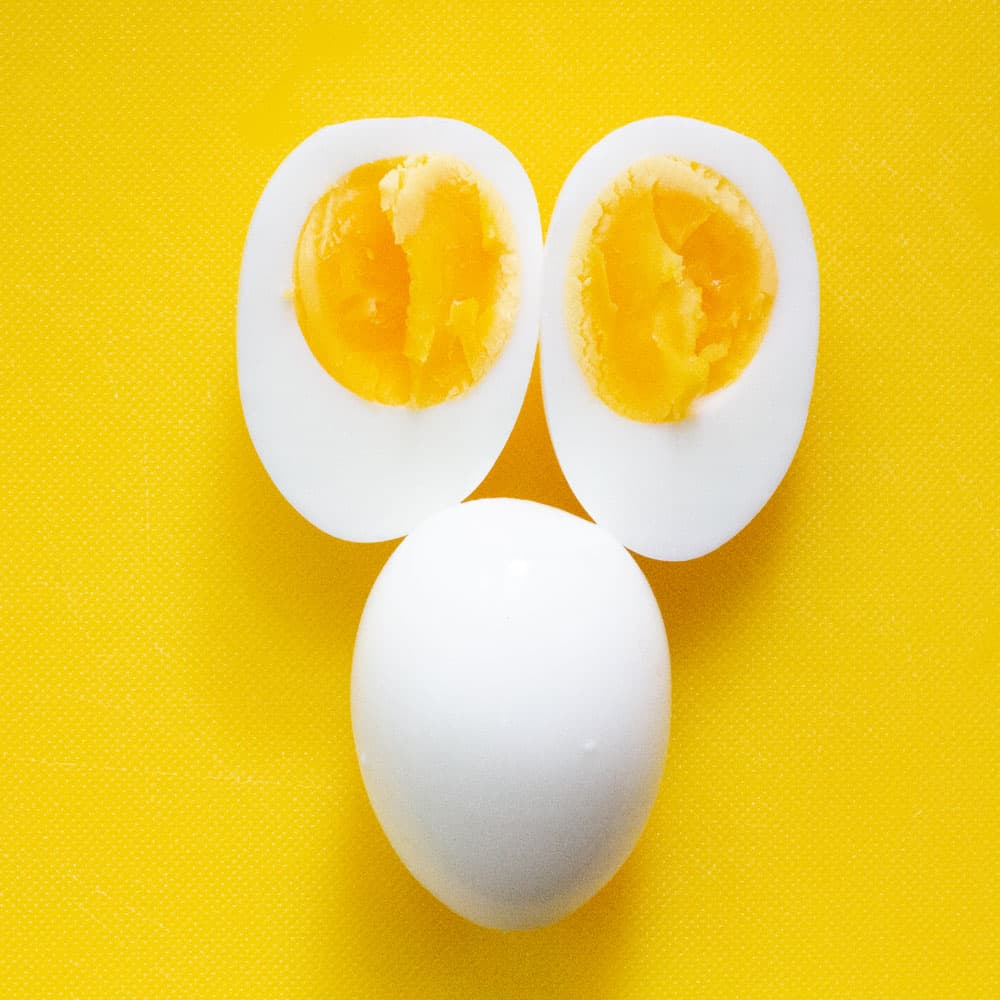 overhead shot of hard boiled eggs cooked in Instant Pot