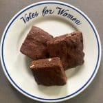 "old fashioned chocolate walnut brownies on a ""Votes for Women"""