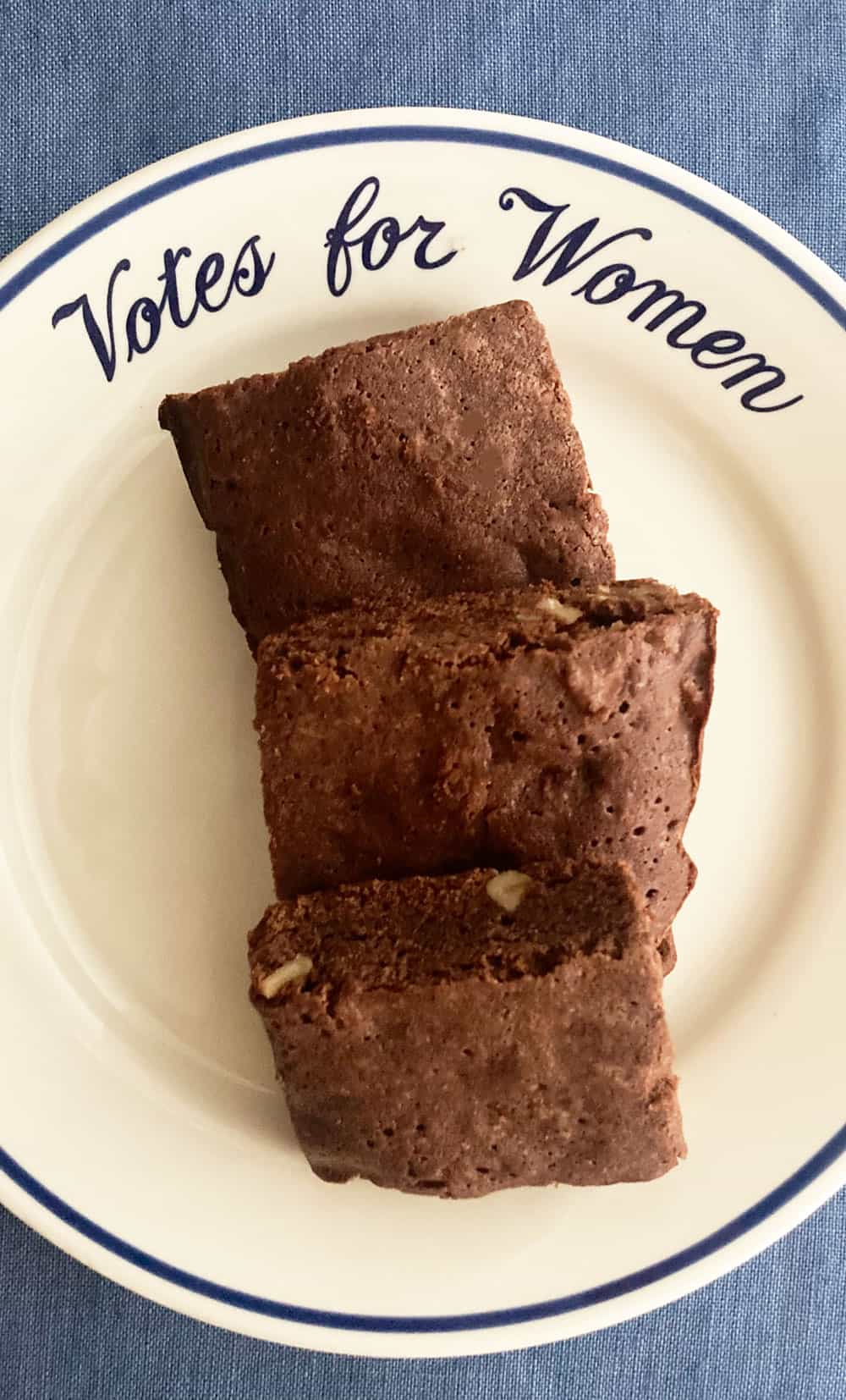 "brownies on ""votes for women"" plate"