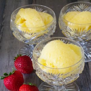 three cups of non-dairy pineappple sherbet
