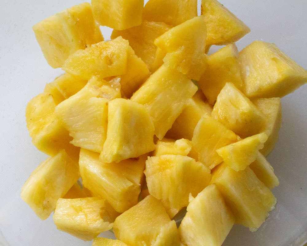 chopped pineapple for Dairy-Free Pineapple Sherbet