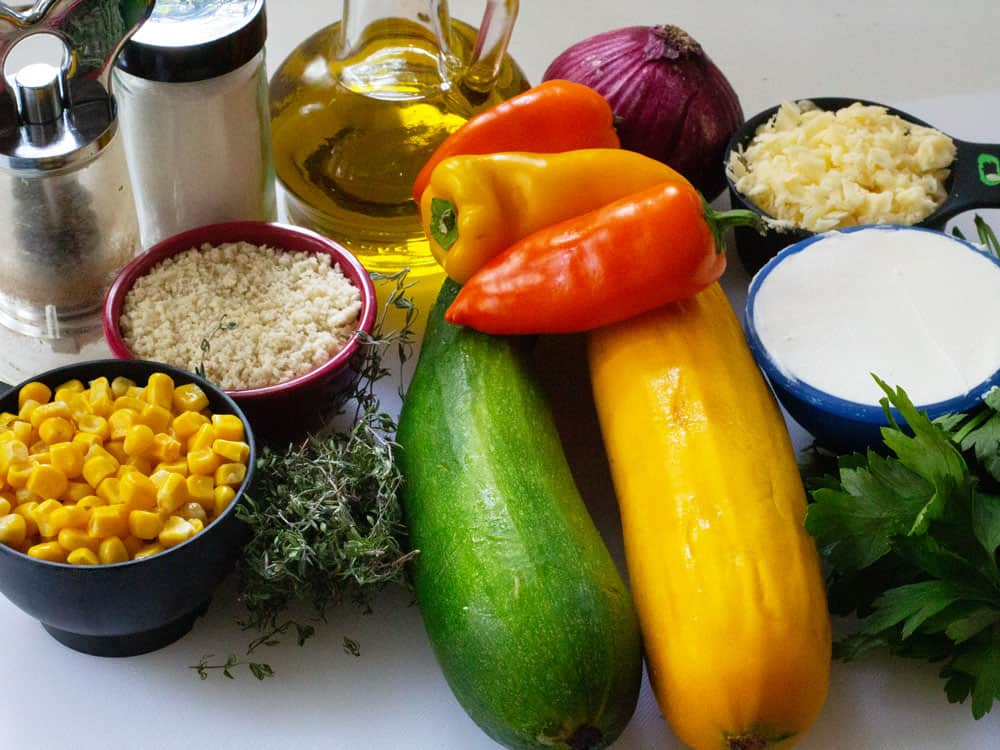 ingredients for stuffed summer squash