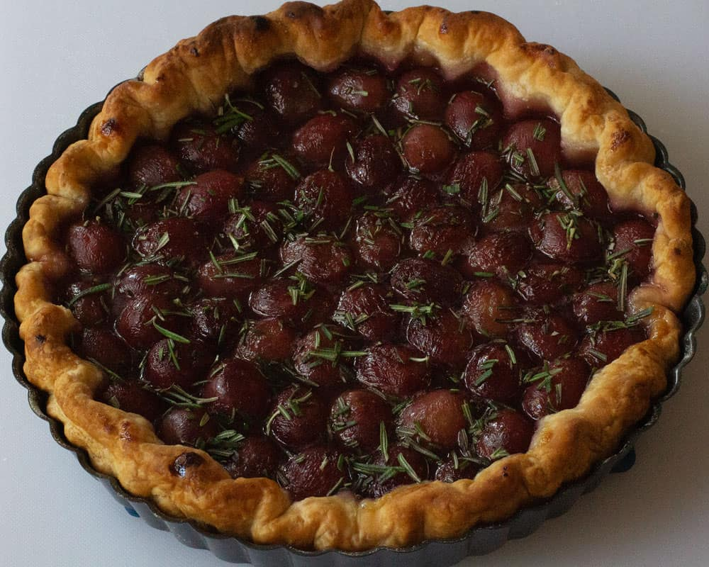 roasted red grape and rosemary tart done, in pan
