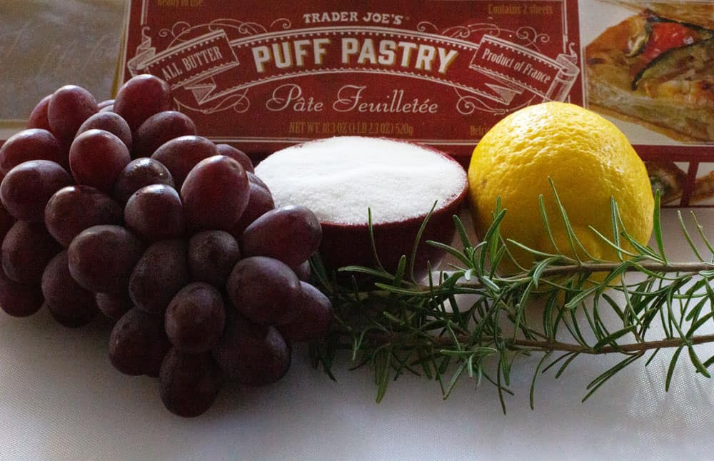 ingredients for roasted grape and rosemary tart