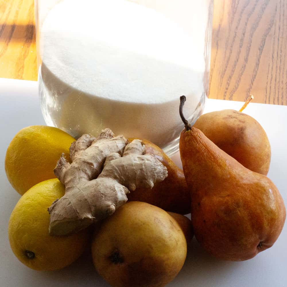 ingredients for small batch ginger pear preserves