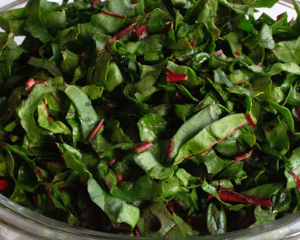 Swiss chard leaves in a bowl